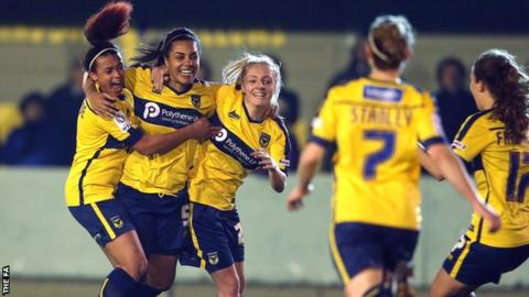 Oxford United Women celebrate goal