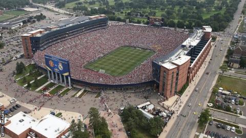Aerial view as Manchester United beat Real Madrid 3-1 in front of 109,318 people in Michigan last year