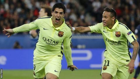 Luis Suarez (left) celebrates with Neymar (right)