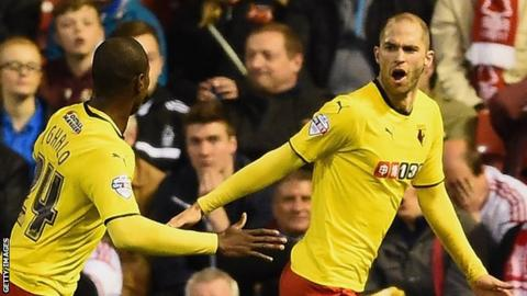 Matthew Connolly (right) celebrates scoring with Odion Ighalo