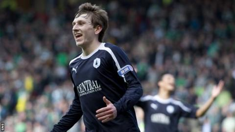 Blair Alston celebrates after giving Falkirk a 3-0 lead in the 2012 semi-final with Hibs
