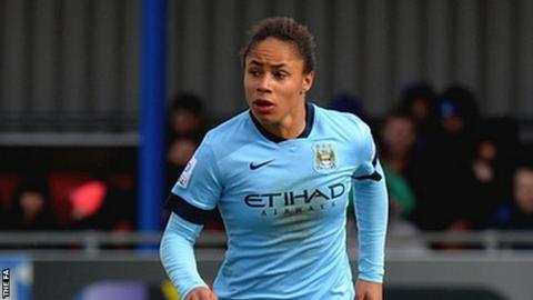 Demi Stokes playing for Manchester City