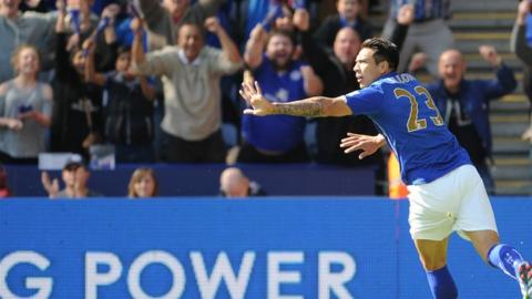 Leicester striker Leonardo Ulloa celebrates his goal against Swansea