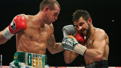Derry Mathews (left) against Tony Luis in Liverpool