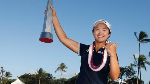 Kim Sei-young with the LPGA LOTTE Championship trophy