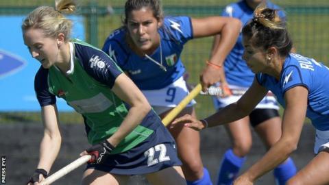 Ireland's Nicola Daly and Giuliana Ruggieri of Italy