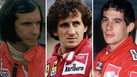 Emerson Fittipaldi, Alain Prost and Ayrton Senna