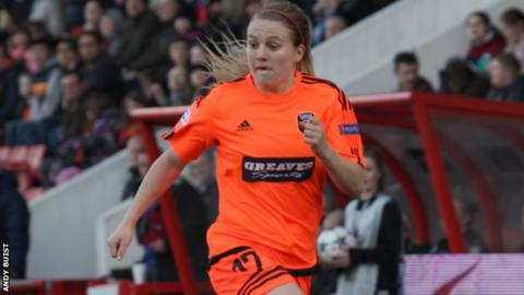 Glasgow City's Fiona Brown scored a hat-trick