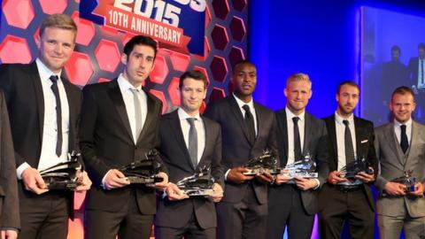 Bournemouth boss Eddie Howe (left) with members of the Football League's team of the decade