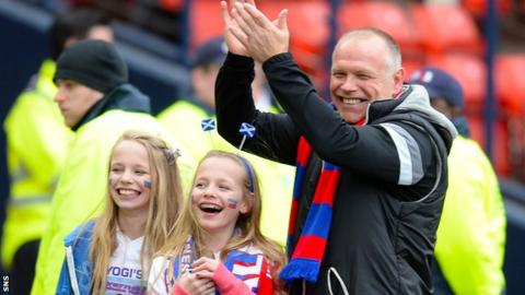 John Hughes, pictured with his twin daughters, led Inverness to their first ever Scottish Cup final