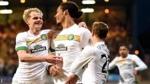 Both Gary Mackay-Steven (left) and Virgil Van Dijk (centre) scored for Celtic