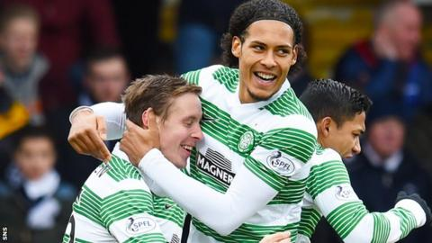 Celtic's Stefan Johansen and Virgil van Dijk celebrate