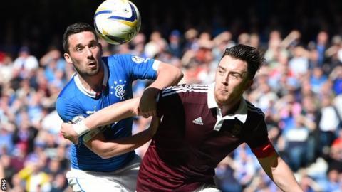 Rangers' Nicky Clark challenges Hearts' Danny Wilson