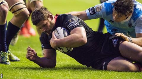 Ross Ford scores a try for Edinburgh