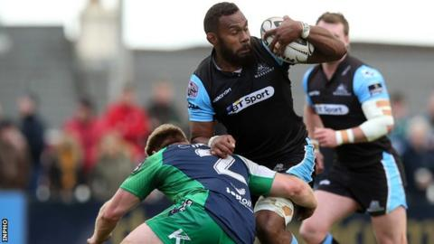 Glasgow's Leone Nakawara is tackled by Connacht's Tom McCartney