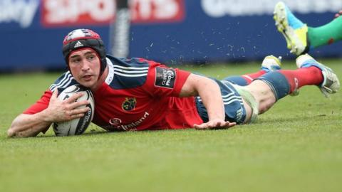 Tommy O'Donnell scores Munster's third try in Saturday's win over Treviso
