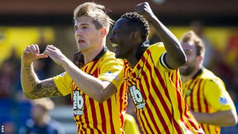 Partick Thistle's Frederic Frans (left) celebrates scoring his goal with Abdul Osman