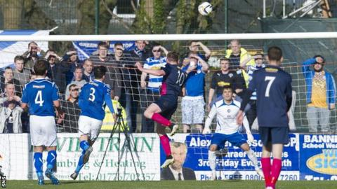 Declan McManus scores for Greenock Morton against Stranraer