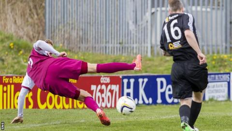 Ally Love scores for Albion Rovers against Arbroath