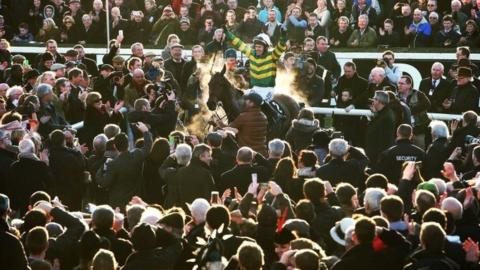 AP McCoy winning the Irish Hennessy on Carlingford Lough in February