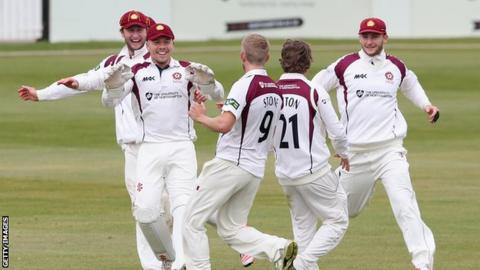 Olly Stone takes a wicket for Northants