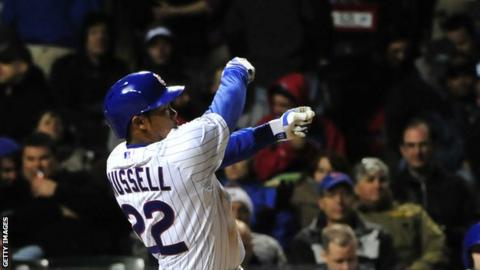 Addison Russell loses his bat mid-swing