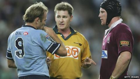 Referee Stuart Dickinson lays down the law