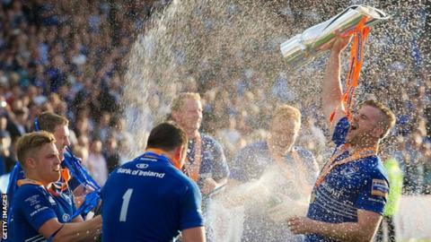 Leinster celebrating the 2014 Pro 12 final