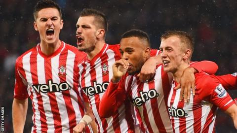 Ryan Bertrand (third left) celebrates with his Southampton team-mates after scoring against Crystal Palace