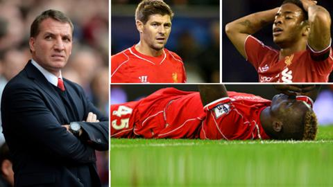 Brendan Rodgers, Steven Gerrard, Raheem Sterling and Mario Balotelli