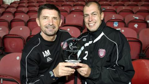 New Arbroath manager Todd Lumsden (right) was assistant to Allan Moore