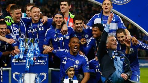 Chelsea celebrate winning the League Cup in 2015