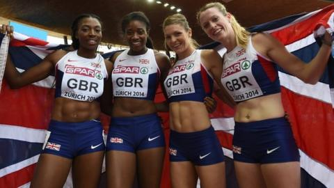 (left to right) Great Britain's Margaret Adeoye, Shana Cox, Kelly Massey, and Eilidh Child celebrate finishing third during the women's 4x400m final at the European Athletics Championships in Zurich, in August 2014