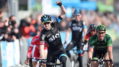 Team Sky's Lars Petter Nordhaug of Norway wins in Scarborough