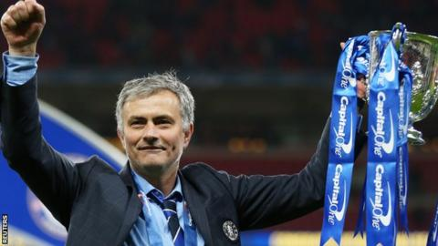 Jose Mourinho with the Capital One Cup