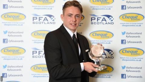 Hibernian midfielder Scott Allan was given his prize on Sunday evening at the PFA awards.