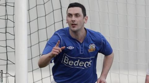 Mark Farren celebrates one of his Glenavon goals in February 2013