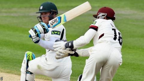 Ben Cox on his way to a century against Somerset at New Road