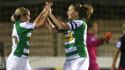 Natasha Knapman (l) of Yeovil celebrates with team-mate Stephanie Williams