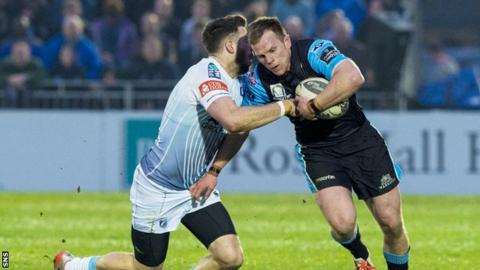 Chris Fusaro (right) in action for Glasgow Warriors against Cardiff