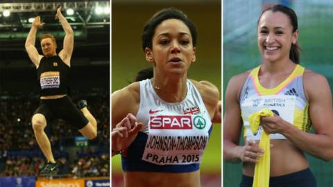 From left to right: Greg Rutherford, Katarina Johnson-Thomson, Jessica Ennis-Hill