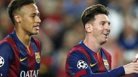Neymar and Messi celebrate victory