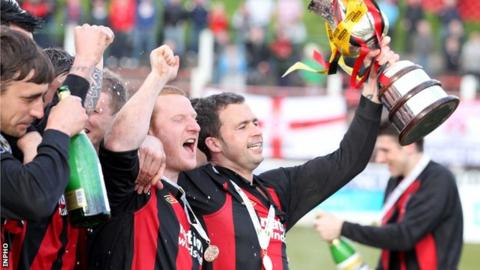 Crusaders celebrate their Setanta Cup triumph in 2012
