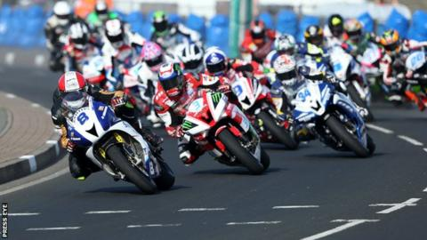 Action from one of last year's Supersport races at the North West 200