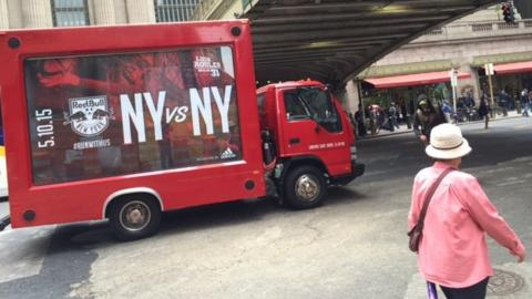 Advertising bus in New York