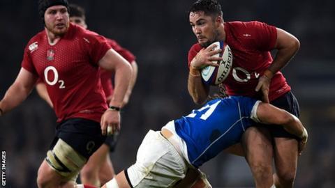 England v Samoa in red kit