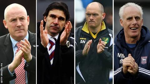 Play-off finals managers: Mark Warburton, Aitor Karanka, Alex Neil and Mick McCarthy