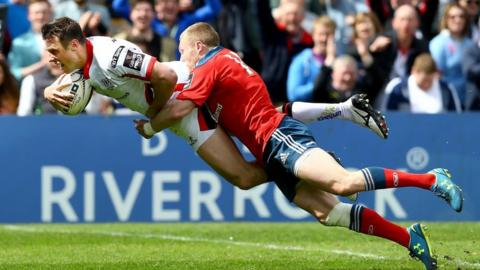 Tommy Bowe collects Iain Henderson's brilliant off-load and weaves through the Munster defence to dive over for Ulster's opening try in first-half stoppage time