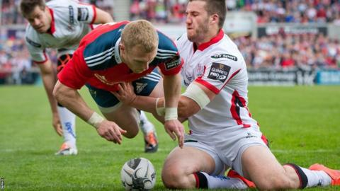 Stuart McCloskey fails to stop Munster's flying wing Keith Earls scoring a try in the 76th minute