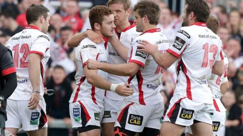Paddy Jackson receives the plaudits from his relieved team-mates after converting Paul Marshall's stoppage-time try to earn a draw for Ulster